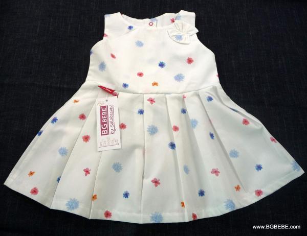 Бяла памучна  рокля с цветчета цена 25,00лв. 1270692348